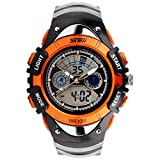 SKMEI 腕時計 キッズ アナデジ表示 日付曜日表示 LED クロノグラフ 防水 スポーツウォッチ オレンジ