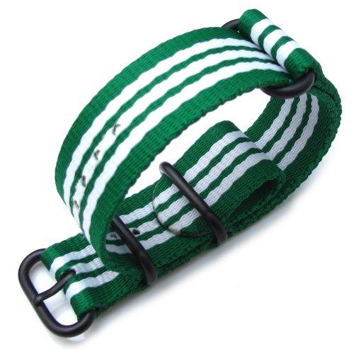 Miltat 24Mm 3 Rings Zulu Watch Strap Ballistic Nylon Armband - Green & White, Pvd Black Hardware