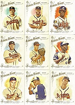Atlanta Braves 2014 Topps Allen and Ginter MLB Baseball Series Complete Mint 17 Basic Card Team Set with Current Players and Hall of Famers Hank Aaron Evan Gattis Greg Maddux Eddie Mathews and More