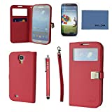 Samsung Galaxy S4 Case,By Ailun(TM),Samsung Galaxy S4 Wallet Case,Samsung Galaxy S4 Leather Case,Credit Card Holder,Cute,PU Flip Cover[Red] with Screen protector with Styli Pen