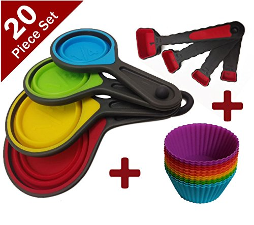 Joy of Kitchen Colorful Silicone Collapsible Folding Measuring Cups and Measuring Spoons and Silicone Baking Cups/ Muffin Cups/ Cupcake Molds - Baking Set 20 Piece Bundle