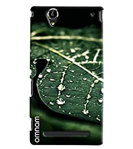 Omnam Green Leaf With Water Drop Printed Designer Back Cover Case For Sony Xperia T2 Ultra