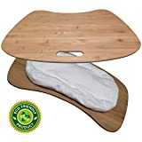 Premium Bamboo Laptop Lap Desk | Large Size | Natural Bamboo Surface with Detachable Cushion | Instantly Converts to Tray | Cotton Pillow with Polybead | Eco Friendly