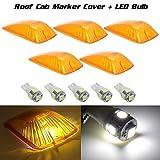 Partsam 5 Clearance Light Amber Roof Cover+W5W T10 194 168 White 5-5050-SMD LED Bulb for Chevrolet/GMC C1500 C2500 C3500 K1500 K2500 K3500