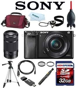 Sony Alpha A6000 A 6000 ILCE6000L/B ILCE6000L ILCE-6000L ILCE 6000L w/ 16-50mm Lens (Black) + Sony E 55-210mm F4.5-6.3 Lens w/ 32GB Deluxe Accesory Kit