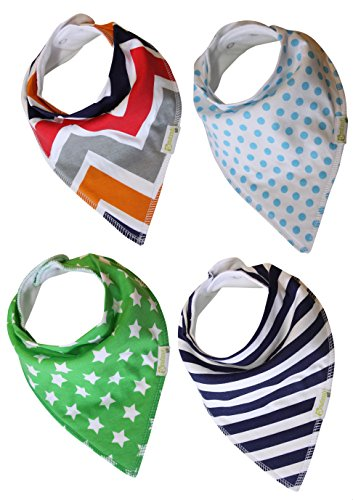 Buy Cheap Bandana Baby Bibs with Snaps for Boys (Pack of 4) ★ Cool Cotton Drool Bibs Absorb & Prot...