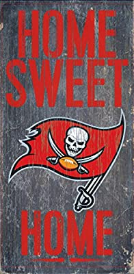 """Fan Creations - Tampa Bay Buccaneers Wood Sign - Home Sweet Home 6""""x12"""""""