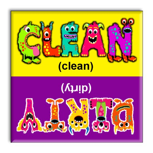 Guajolote Prints Clean Dirty Dishwasher Magnet Monsters 2.5 X 2.5 Inches front-563561
