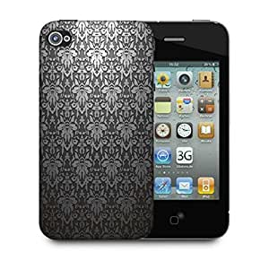 Snoogg Grey Pattern Black Designer Protective Phone Back Case Cover For Apple Iphone 4
