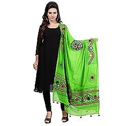 Banjara WomenS Cotton Stoles & Dupattas Kutchi Mirrorwork (Kch06 _Parrot Green _Handicraft Dupatta_Free Size)