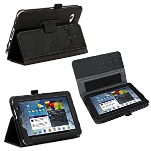 Poetic Slimbook Leather Case for Samsung Galaxy Tab 2 7.0 Black (Included 2 Micro SD Card Slots) (Business Card Holder is Plus)