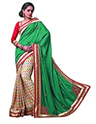 Sareez Off White & Green Color Manipuri Silk With Cotton Saree.