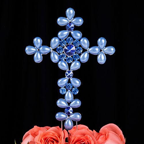 lovenjoy-pearl-and-crystal-rhinestone-cross-cake-topper-for-wedding-birthday-religious-baby-boy-girl