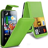 Gadget Giant Samsung Galaxy S2 i9100 Green PU Leather Flip WALLET Case Cover & 3 Pack Of LCD Screen Protectors & Touch Screen Stylus - 2 Internal Card Slots