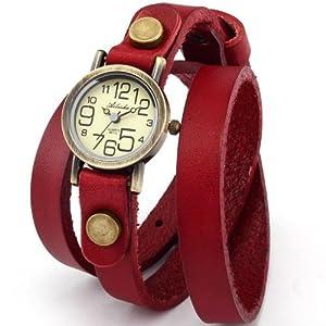 Ailisha Bronze Lady Wrap Bracelet Bangle Red Leather Quartz Wrist Watch WAA383