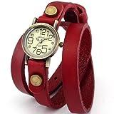 AMPM24 Montre Quartz Bracelet Cuir Triple Tour Retro Vintage Style Rouge WAA383