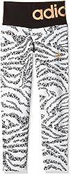adidas Girls' Trousers (S16429140_White, Black and Flash Orange _140)
