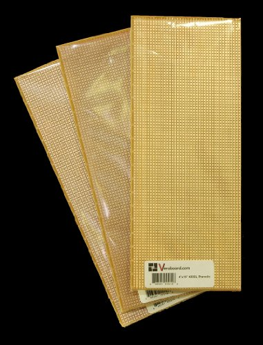 "Pack of 3 Prototype Stripboard 4""x10"" 4000hole Phenolic Pitch 0.1"""