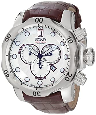 "Jason Taylor for Invicta Collection 12960 ""Reserve"" Stainless Steel Watch with Leather Band"