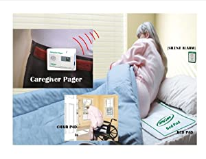 Pager & Wireless Bed Alarm with Bed & Chair Sensor Pads (No Alarm in Patient's Room) Sends the wireless alert up to 150' to Care Person Pager!