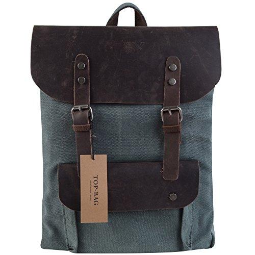 TOP-BAG®Women Vintage Canvas Leather Shoulder Bag Backpack Weekender Bag Rucksack Satchel, MC2166 (lakeblue)
