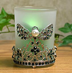 Irish Angel Frosted Glass Candle Holder Metal Filigree Frame with Green Rhinestone Jewels and Crystals - Green Metallic Flameless LED Votive Candle with Battery Included - 3 Inch High