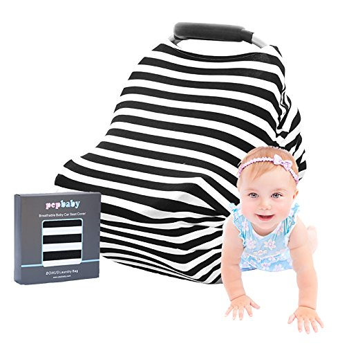 Baby Car Seat Cover Multi-Use Stretchy Breathable Canopy & Infant Nursing Covers 4 in 1 Gift Box PLUS BONUS Laundry Bag by pepbaby
