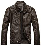 Chouyatou Men's Vintage Stand Collar Pu Leather Jacket (Large, Coffee)