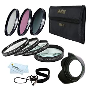 52mm Pro Macro Photography Kit Includes: +1 +2 +4 +10 Close-Up Macro Filter Set with Pouch+ 3pc. Filter Kit (UV, CPL, FLD) + Tulip Lens Hood +++ For Nikon Df, D7100, D7000, D5300 D5200 D3300 D5100 D3200 D3100, D800, D700, D600 D610 D300S D90, P600 Camer