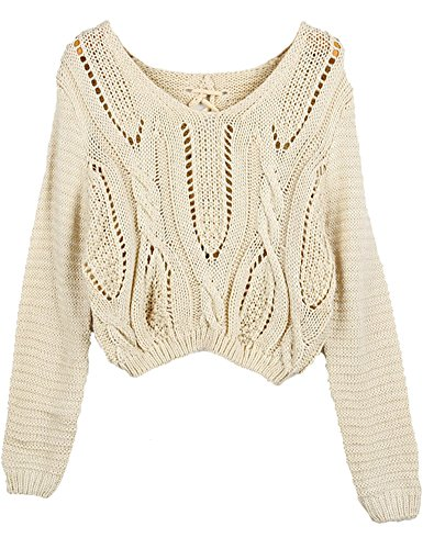PrettyGuide Women Eyelet Cable Knit Lace Up Crop Long Sleeve Sweater Crop Tops Beige