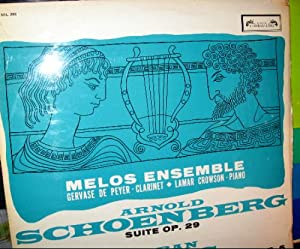 Schoenberg Melos Ensemble Of London Conducted By Bruno Maderna Serenade For Septet And Bass Voice