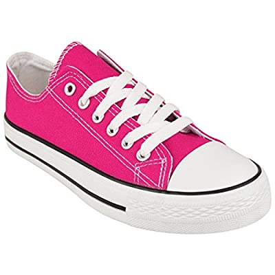 Ladies Womens Girls Shoes Casual Canvas Lace Up Plimsolls Flat Trainers Pumps