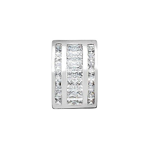 18k white gold pendant zircons jimmies 4x2mm center. [AA4577]