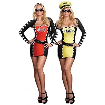 New Sexy Taxi Driver Racecar 2-IN-1 Halloween Costume L Womens U.S. Large (10-14)