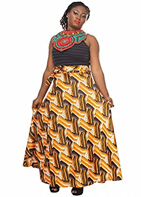 African Planet Women's Wax Skirt Dress Duala Apparel Inspired Wrap Around Waist Maxi