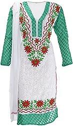AKS Lucknow Women's Regular Fit Kurti (TK-53_44, WHITE , 44)
