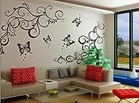 StickersKart Wall Stickers Lovely Butterflies Living Room (Black, 120cm x 90cm)-6901
