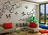 StickersKart Wall Stickers Lovely Butterflies Living Room (Black, 120cm x 90cm)-6901