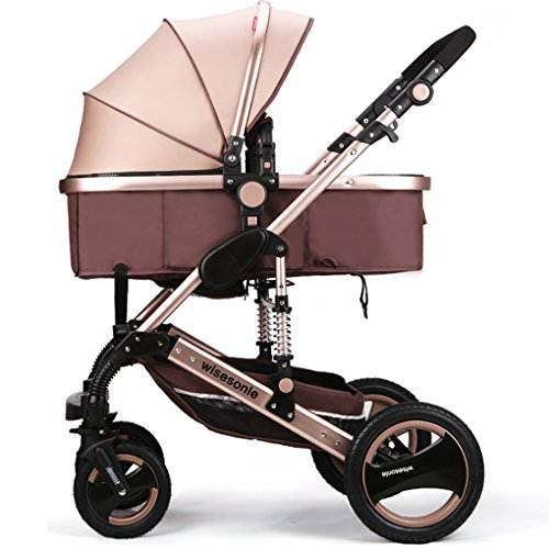 Luxury Newborn Baby Strollers Travel Systems Carriage Toddler Infant Stroller Pushchair Pram Foldable Anti-shock (Khaki)