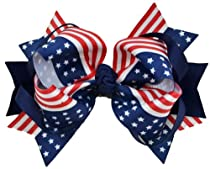 """4th of July 5"""" Loopy Hair Bow (Navy)"""