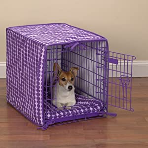 ProSelect Crate Pet 2-Piece Cotton Cover and Polyfilled Bed, Medium, Purple Dots