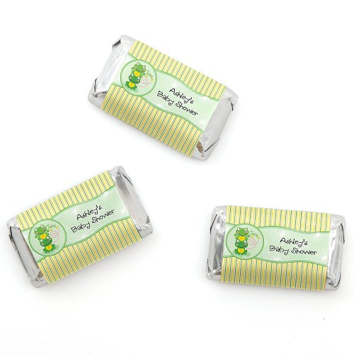 Twin Froggy Frogs - Personalized Baby Shower Mini Candy Bar Wrapper Favors - 20 Ct