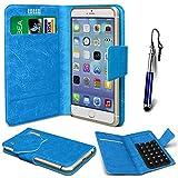 N4U Online® - Nokia C3-01 Blue PU Leather Suction Pad Wallet Case Cover & Mini Stylus Pen