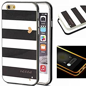 iPhone 6Plus Case,6s Plus Case,XYX [Black and white striped heart] 2 in 1 Hybrid Transparent Pattern PC Hard Back Cover Plastic Case Cover for iPhone 6Plus / 6s Plus