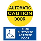 ComplianceSigns Vinyl Automatic Entrance Label, 10 x 4 in. with English, White