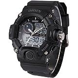 OHSEN LCD メンズ デュアルコア デジタル バックライト 日付 アナログ 防水 スポーツ 腕時計OHS215