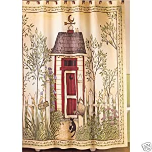 Outhouse shower curtain by linda spivey for Bathroom decor amazon
