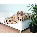 Trixie 37181 Fleecedecke Barney,150x100 cm, beige mit schwarzen Pfoten