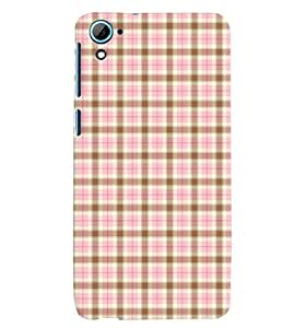 Fuson Premium Pink Cheques Printed Hard Plastic Back Case Cover for HTC Desire 826