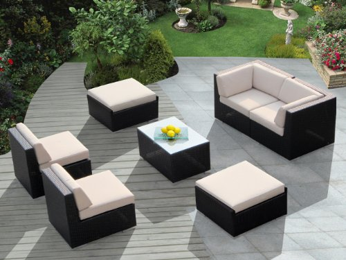 Genuine Ohana Outdoor Patio Wicker Furniture 7pc All Weather Gorgeous Couch Set with BEIGE CUSHION photo
